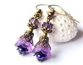 Dangle earrings, lucite flower earrings, purple lilac earrings, valentine earrings, beadwork earrings, bridesmaids gift shabby style