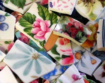 FREE SHIPPING 199 Mixed Lot Grab Bag w Many Different Styles of Mosaic Tiles Tesserae Handmade Cut Dinnerware Plates Dishes Flowered Mosaics