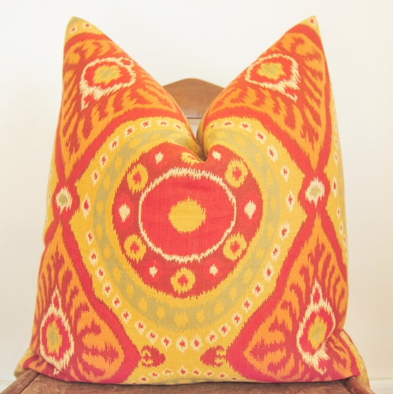 Designer Pillow, Decorative Pillow, Throw Pillow, 22x22 inch, Orange Ikat, Red Ikat, Chartreuse Ikat, Cotton Jacquard, Pillow Cover