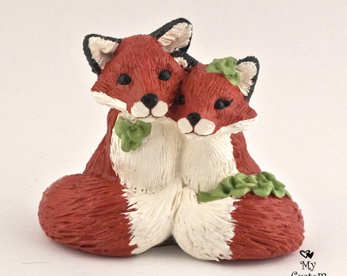 Fox in Love Wedding Cake Topper