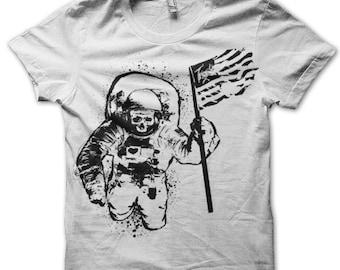 Men Space TShirt - White NASA Tshirt with Original Astronaut Artwork
