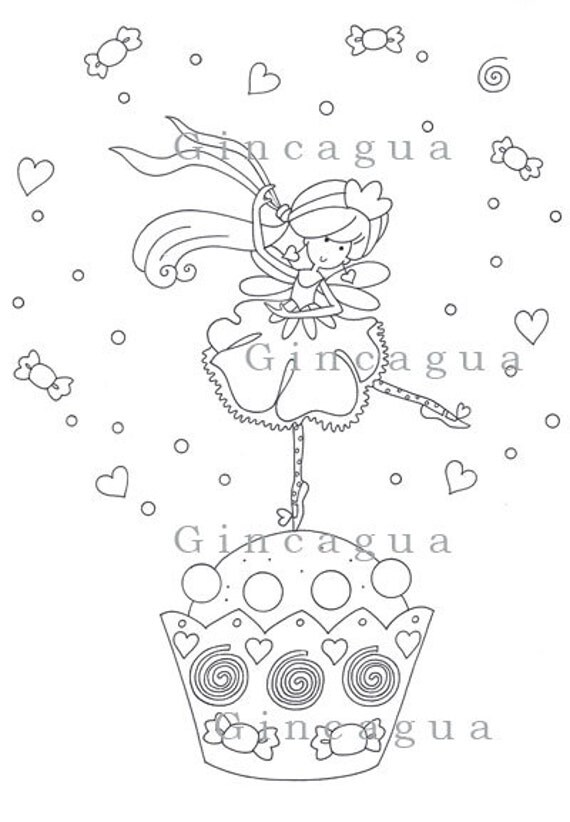 printable coloring page fairy ballerina candy. Black Bedroom Furniture Sets. Home Design Ideas