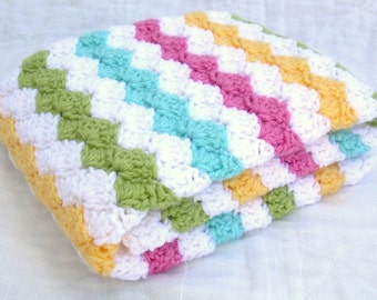 Crochet Baby Blanket, Carnival, White, Pink, Sweet Pea Green, Yellow, and Aqua, Crib Size
