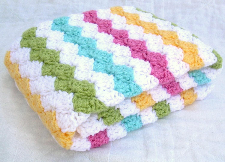 Crochet Baby Blanket Carnival White Pink Sweet Pea Green