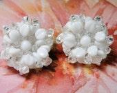 Vintage White Glass Bead Earrings Made in Germany, Bold Bridal Flower Earrings