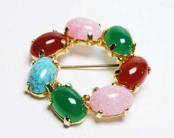 Easter Brooch - Beautiful Vintage, Like New EXCELLENT CONDITION, Robins Egg Blue, Pink, Carnelian and Jade Green - CLOSING Sale