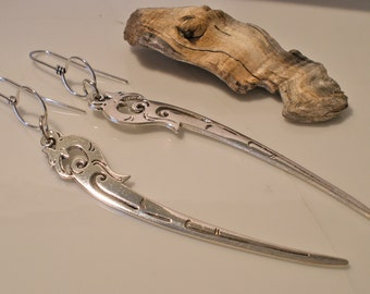 Extra Long Silver Pheonix Dangle Earrings