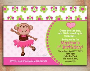 Monkey Girl Birthday Invitation, Girl Monkey Tutu Birthday Invitation, Personalized Girl Monkey Birthday Invitation - DIY