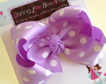 Lavender Polka Dot Bow -- Light Purple Large Boutique Bow -- Perfect for Spring and Easter --Lavender and White