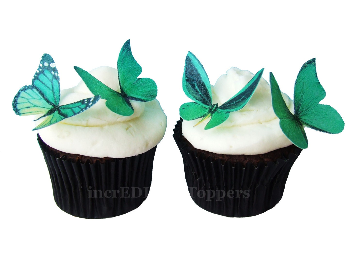 Edible Cake Top Decorations : Edible Cake Toppers EDIBLE BUTTERFLIES in 24 Green Cupcake