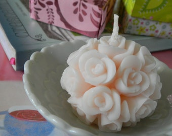 Lovely Small Scented Soy Wax Rose Ball Candle (1 1/2 in) Favors for Wedding, Bridesmaids Gifts, Baptismal Keepsake, etc.