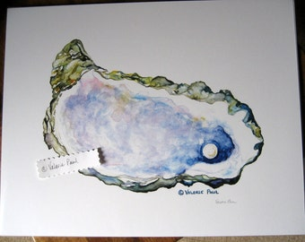 11x14 Oyster with Pearl Watercolor Print