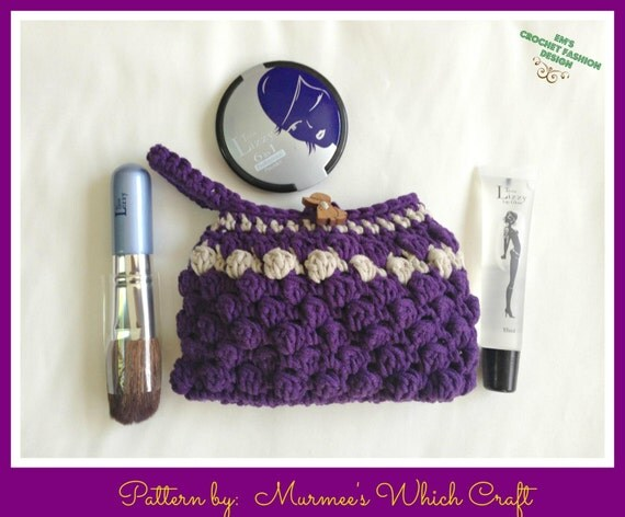 Crochet Cosmetic Bag Pattern : Makeup Cosmetic Bag Crochet PATTERN by Murmee73 on Etsy