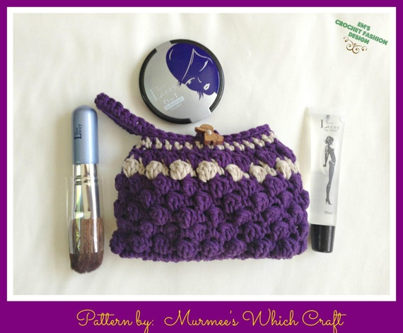 Makeup Cosmetic Bag Crochet PATTERN by Murmee73 on Etsy