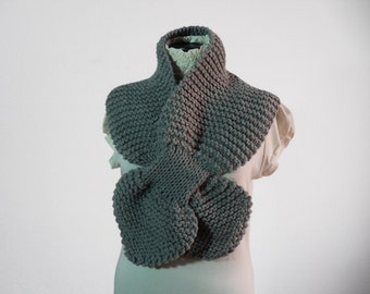 Winter Sale -  Grey Women Scarf -  Gray Knitting Scarf - Grey Hand Knit Neckwarmer, ready to ship