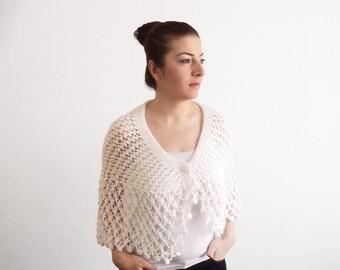 White Bridal Shawl - White Knitting Wrap - White Knitting Bridal Capelet, ready to ship