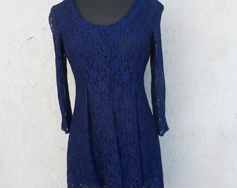 SALE Vintage Lace Dress . MINI Dress . Navy Blue SHEER Small