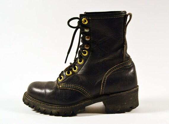 Vintage 90s Grunge Distressed Black Leather Combat Boots