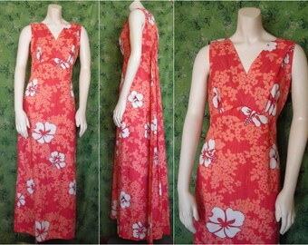 Vintage Hawaiian Togs Floral Maxi Dress - Sleeveless Peachy Pink Hibiscus Print for Your Vacay or Stacay