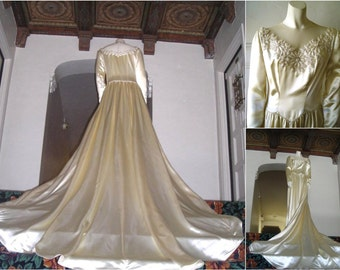 Vintage 40s Wedding Dress with Cathedral Train - Creamy Skinner Satin Gown  by Mindelle with Beaded Floral Detail, Illusion Net Neckline