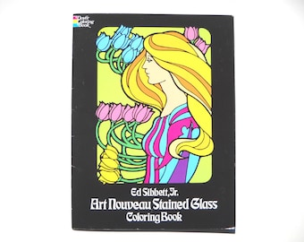 CLEARANCE Art Nouveau Stained Glass Coloring Book: Never Used