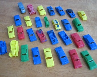 Vintage Lot of 30 Plastic Toy Cars/Cake Toppers  by MPC  1950's - 1960's