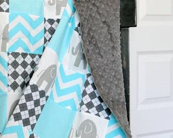 Baby Blanket, Modern Baby Quilt - Aqua, Elephants and Argyle