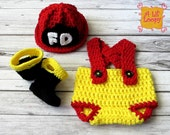 Lil' Firefighter Hat, Diaper Cover Suspenders, and Boots Set Photography Prop - ALilLoopy