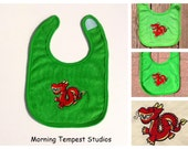 Baby Chinese Red dragon embroidered feeding bib