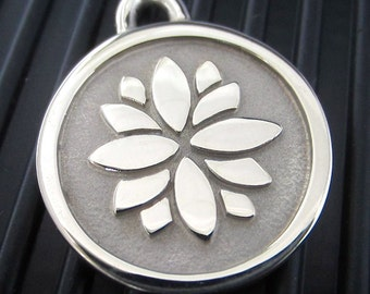 Medium Stainless Steel Lotus Flower Pet ID Tag
