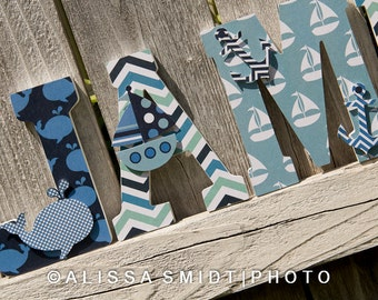 Nautical Nursery Letters, Custom Wooden Letters, Custom Letters, Baby Boy (whale, boat, anchor, blues, navy) 7 Inch Size