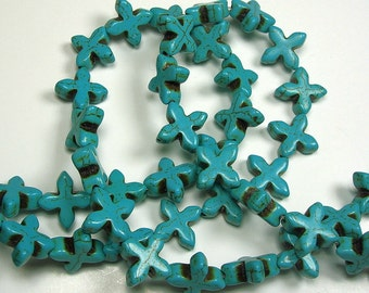 Howlite Stone Beads  Fancy Turquoise Cross 1 Strand.