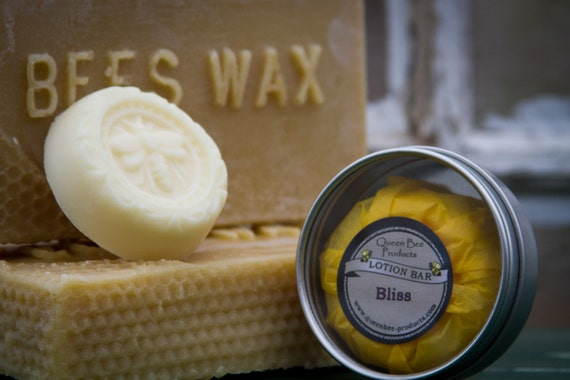 LOTION BAR - Made with unprocessed beeswax.  Great for travel.