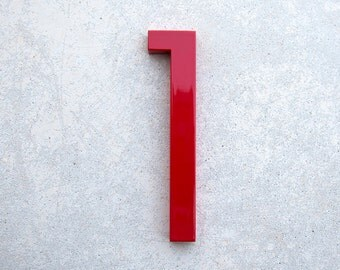 Modern House Number Aluminum Modern Font Number One  1 in RED