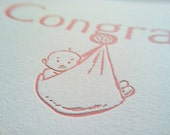 Congrats - New Baby Girl - Card and Envelope