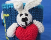 I Love you, Hand Crochet Coffee Cup Sleeve with Bunny and Heart. Great gift for a someone special. Valentine Day Gift. Easter Bunny
