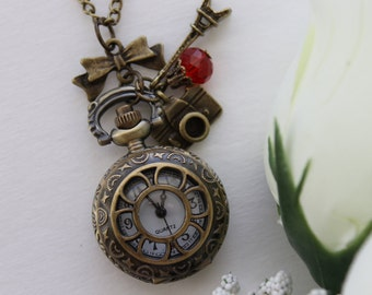 Vintage Style Sunflower Watch Locket Necklace with Camera, Eiffel Tower and Bow Charm