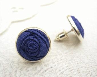 Iris Purple Earrings - Fabric Flower Silver Stud Earrings - Bridesmaid Gift