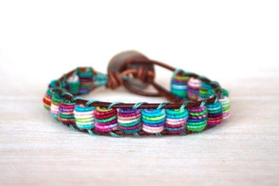 Boho Leather Bracelet, Shabby Chic, Fabric Textile Beads, MULTICOLOR