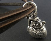 Heart Bracelet Antique Silver Heart on Leather Bracelet