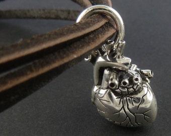Heart Bracelet Antique Silver Heart on Leather Bracelet