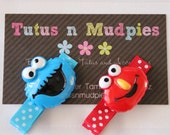 Elmo and Cookie Monster Hair Clip Set