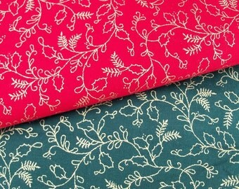 Fabric Crimson & Forest Cotton Guilded Holly Pattern Holiday Yardage Lot