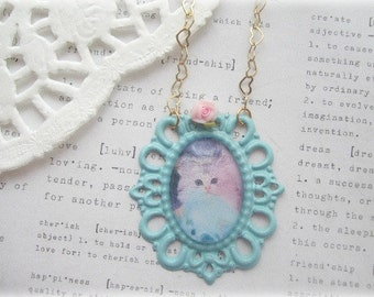 ON SALE  White Kitten in Blue Frame with Pink Flower Necklace