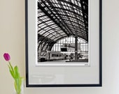 """Black and White Modern Fine Art Photography - Europe - Antwerp Train Station Portrait  - 40x50cm (15""""x20"""") Size (Can also be custom sizes)"""
