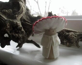 Toadstool peg doll