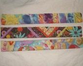 Colorful slap snap cotton cloth covered bracelet set of three boho hippie pastel watercolor cupcake flowers