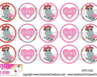 "15 Hippo Hugs Digital Download for 1"" Bottle Caps (4x6)"