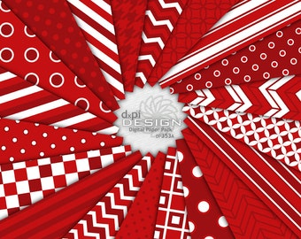 Red Digital Paper Pack and Printable Background Images - Digital Holiday Scrapbook Paper in Christmas Red - Instant Download (DP353A)