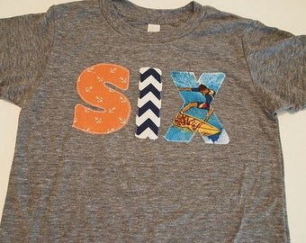 Beach Surfer party Nautical Theme Birthday Shirt chevron vintage